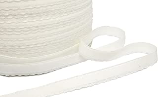 Porcelynne White Scalloped Edge Brushed Back Strap or Waistband Elastic - 1/2