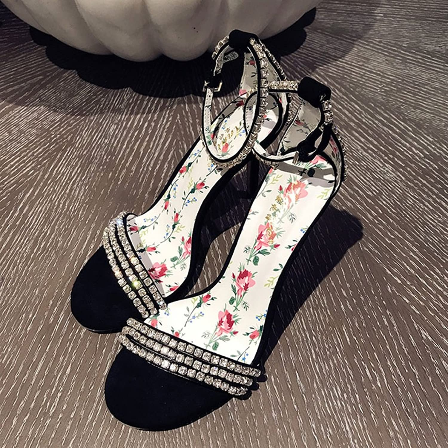 Sandals Girls shoes Sandals Hand Sew shoes Rhinestone Heels Summer Flash Sandals Heel Height 9cm (color   Black, Size   35)