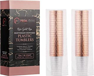 Rose Gold Party Cups - | 12oz 50 Rose Gold Cups | Pretty Rose Gold Disposable Cups | Clear Rose Gold Plastic Cups | Ideal Fancy Plastic Party cups for Any Rose Gold Party Decorations