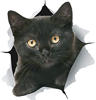 Winston & Bear 3D Cat Stickers - 2 Pack - Black Cat Wall Decals - Cat Wall Stickers for Bedroom - Fridge - Toilet - Car - Retail Packaged