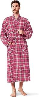 SIORO Mens Flannel Cotton Robes, Soft Plaid Bathrobe Shawl Collar Loungewear