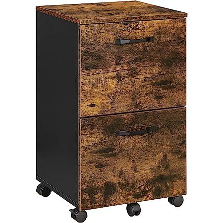 VASAGLE Caisson 2 tiroirs, Placard Bureau sur roulettes, pour Documents A4, dossiers Suspendus, Style Industriel, Marron Rustique et Noir OFC040B01