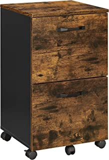 VASAGLE Caisson 2 tiroirs, Placard bureau sur roulettes, pour documents A4, dossiers suspendus, Style industriel, Marron R...