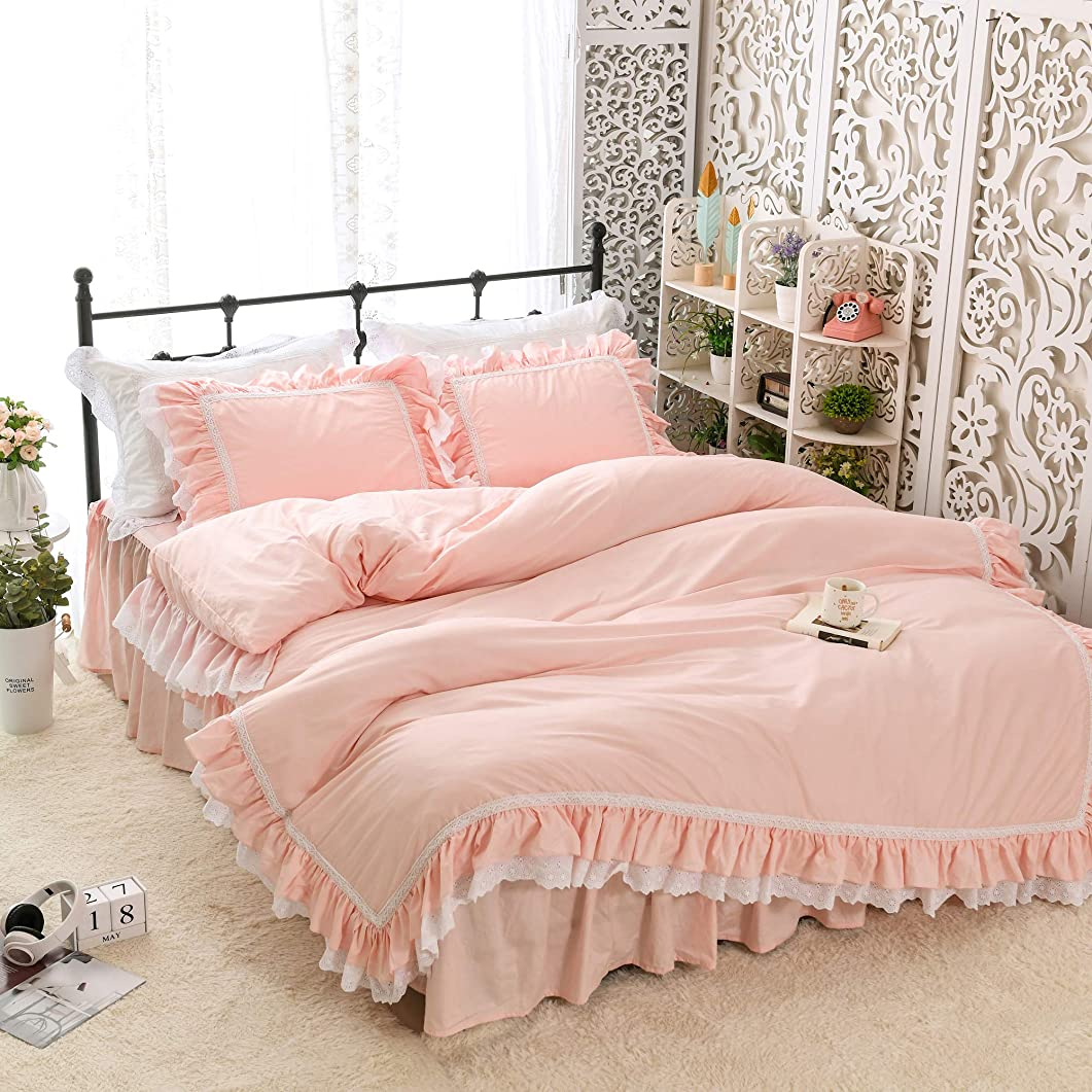闇羊分散姫系ピンク寝具カバー/ホワイトレース付きコットン掛け布団カバー/ベッドスカート/枕カバー シングル