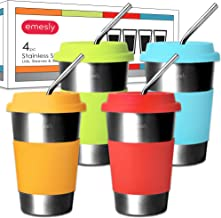 Emesly Stainless Steel Cups with Lids, Sleeves and Straws (Set of 4); Kids Sippy Cups; Metal Drinking Tumblers; Unbreakable, Eco Friendly, BPA Free Glasses for Adults, Children & Toddlers; 16 Oz.
