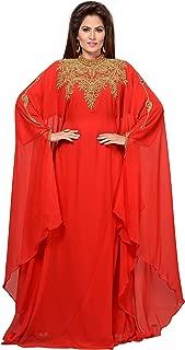 ANIIQ Georgette Hand Stitched Embroidered Farasha Kaftan Long Evening Evening Dress with Free Hijab SNM804