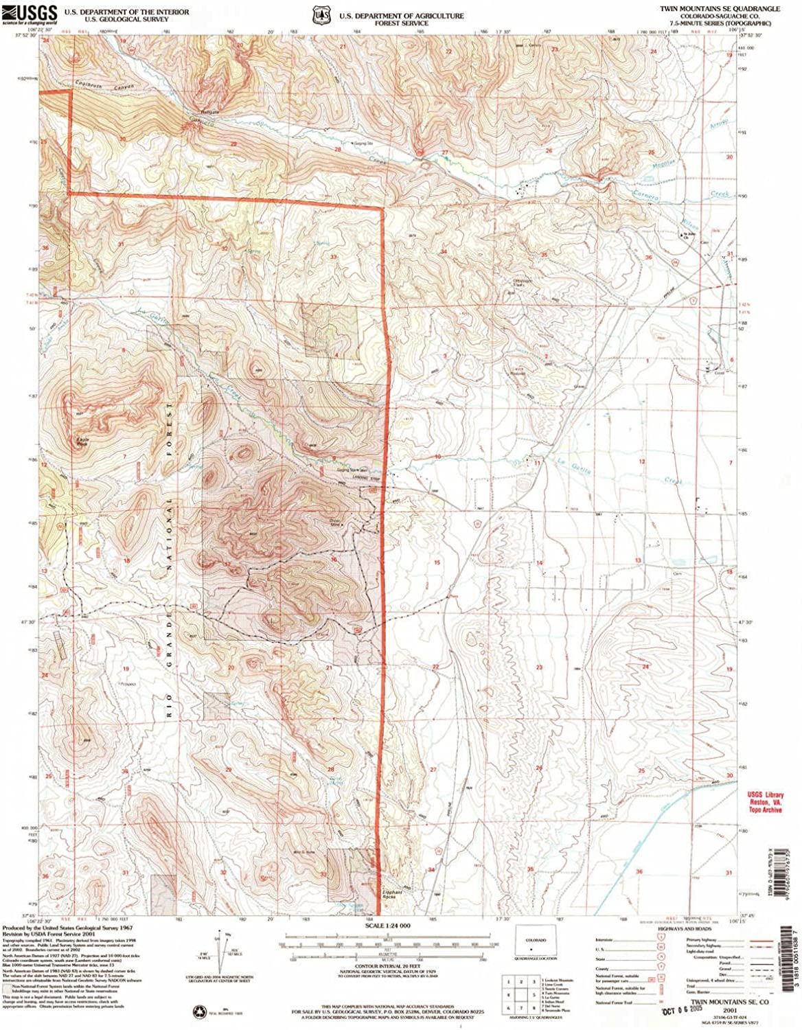 Twin Mountains SE CO topo map, 1 24000 Scale, 7.5 X 7.5 Minute, Historical, 2001, Updated 2005, 26.8 x 22.1 in