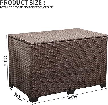 Valita Outdoor Wicker Storage Box, Big Size,Resin Brown Rattan Deck Bin with Lid, 150 Gallon,Water-Resistant Liner Container