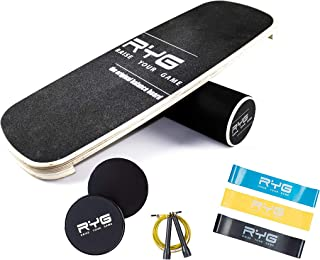 Raise Your Game Balance Board Trainer Agility Set, Wooden Wobble Roller for Exercise Sports, Training Equipment for Balance Stability and Fitness, with Free Workout Guide