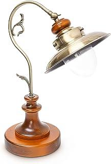 Relaxdays 10018489 Table Lampe de Bureau Antique Design Industriel Bois Massif & Aspect Laiton, Métal, E27, 40 W