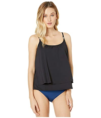 MICHAEL Michael Kors Iconic Solids Double Layer Tankini Top (Black) Women