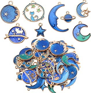 24 Pieces Gold Plated Enamel Charms Pendants, Blue Enamel Moon Star Pendant Crafting Accessories for Making Earrings Necklace DIY, 8 Styles