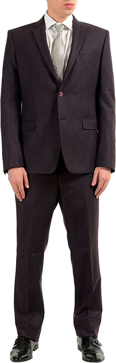 Versace Collection Men's 100% Wool Two Button Suit Size US 48 IT 58 Burgundy