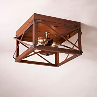 Double Ceiling Light with Folded Bars in Rstic Tin
