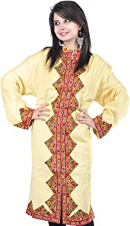 Exotic India Cream Long Kashmiri Jacket with Hand Embroidered Flowers on Borders