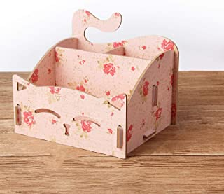 DIY Wooden Assemble Cute Cat Pen Pencil Holder .Cosmetic Holder Desk Organizer for Home, Office (Camellia Pattern)
