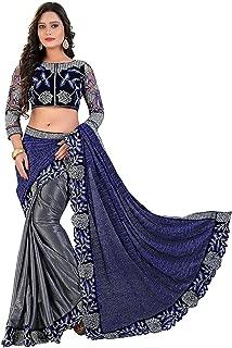 Indian Pakistani Ethnic Wear Designer Lycra Saree with Unstitched Blouse