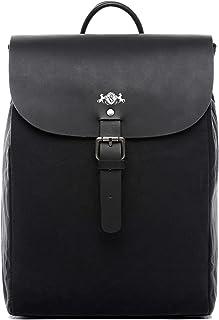 SID & VAIN Rucksack echt Canvas & Leder Akira Backpack Tagesrucksack Stadtrucksack Daypack Laptopfach Lederrucksack Unisex