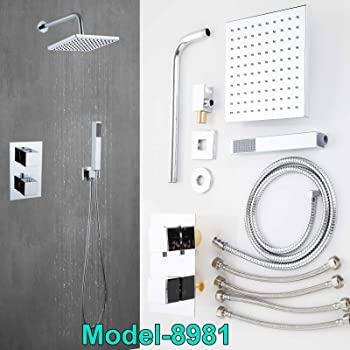 Bath Concealed Chrome Thermostatic Shower Mixer Valve Dual Control Shower Head Round 8 Shower Head Handset Brass 2 Way Chrome Polished In Wall Mounted Overhead Rain Drench Kit Amazon Co Uk Diy Tools