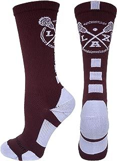 LAX Lacrosse Socks with Lacrosse Sticks Athletic Crew Socks (Multiple Colors)