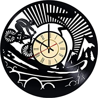 Downhill Mountain Bike Vinyl Clock Gift for Bicycle Fans Redding Sports Wall Decor Off-Road Cycling Art Xtreme Handmade Living Room Artwork