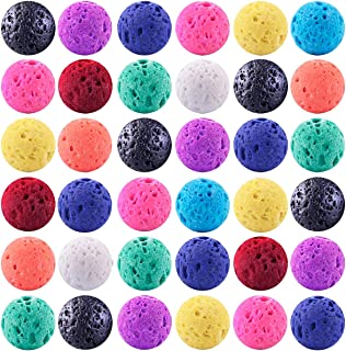 Color Lava Stone Beads Mixed Box Kit 200pcs 8mm Round Loose Chakra Rock Beads Random Color for Essential Oil Yoga Diffuser Bracelet Necklace Jewelry Making (Color Lava Stone Beads Mix Kit)