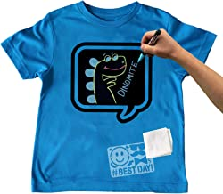 Chalk of the Town Chalkboard T-Shirt Kit for Kids - Short Sleeve Brilliant Blue Speech Bubble w/3 Markers and Stencil (Small)