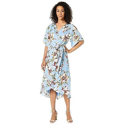 Tahari by ASL Printed Georgette Tie Wrap Dress w/ High-Low Hemline (Clematis Sky Blue) Women