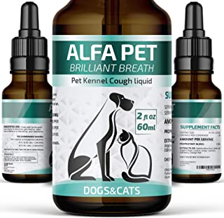 Alfa Pet Kennel Cough Medicine for Dogs and Cats/Organic Remedy for Collapsed Trachea/Cough Treatment for Cats/Natural Kennel Cough Treatment with Elderberry, Calendula and Mullein Leaf/Nose Relief
