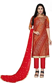 Maroosh Women'S Cotton Fabric Red Color Chudidar Free Size Dress Material