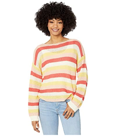 Cupcakes and Cashmere Lex Multi Stripe Boucle Yarn Boatneck Sweater (Ivory) Women