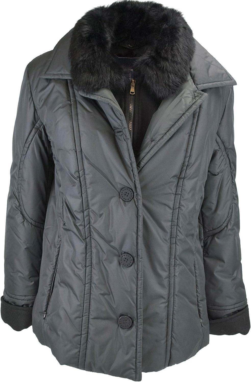Les Copains Jacket Padded Women's 44 M Black Faux Fur
