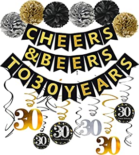 Gold Glittery Cheers & Beers to 30 Years Banner,Poms,Sparkling 30 Hanging Swirls Kit for 30th Birthday Party 30th Anniversary Decorations Favors Supplies