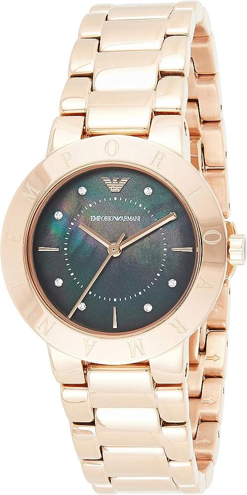 Emporio armani, orologio da donna, in acciaio inossidabile in tono oro rosa AR11251