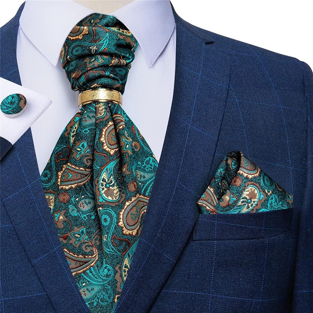 NJBYX Men Vintage Teal Green Wedding Formal Cravat Scrunch Self British Style Silk Necktie Hanky Cufflinks Set (Color : Gold Ring, Size : One size)