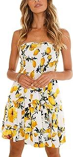 Women's Floral Strapless Pleated Flowy Skater Mini Tube Dress