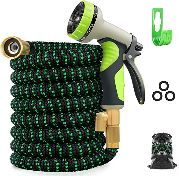 Zalotte Expandable Garden Hose With 9 Function Nozzle Leakproof Lightweight Expanding Garden Water Hose With Solid Brass Fittings Extra Strength 3750D Durable Gardening Flexible Hose Pipe 25ft