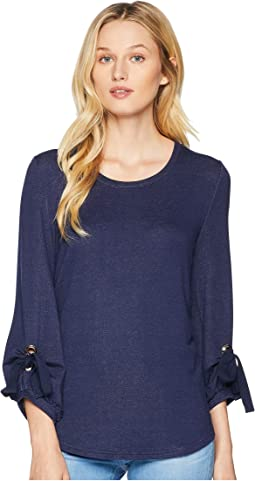 Crew Neck Top with Puffy Sleeve