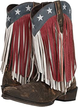 Sanded Brown Leather/Red & White Fringe
