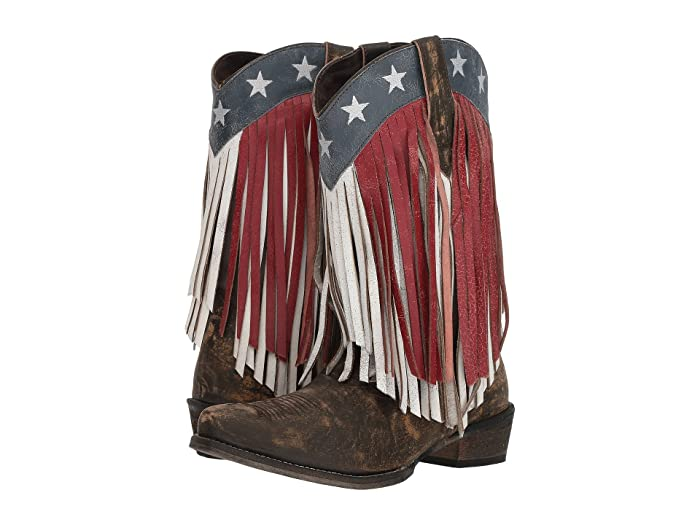 Roper  American Beauty Fringe (Sanded Brown Leather/Red and White Fringe) Cowboy Boots