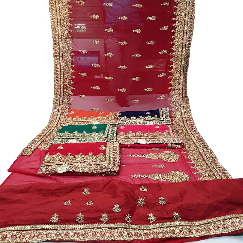 Designer Heavy Stone Embroidery Saree Sari Ceremony wedding Bridal Punjabi Saree 3
