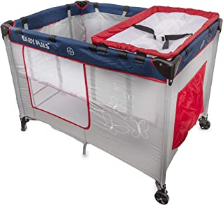 baby plus BP8060 Play Pen Cum Baby Cot with Changing Table and Storage, Grey - Pack of 1