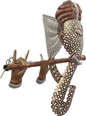 eCraftIndia Handcrafted Golden Bansuri Ganesha Decorative Iron Wall Hanging, Brown and Golden (IBG510), one Size