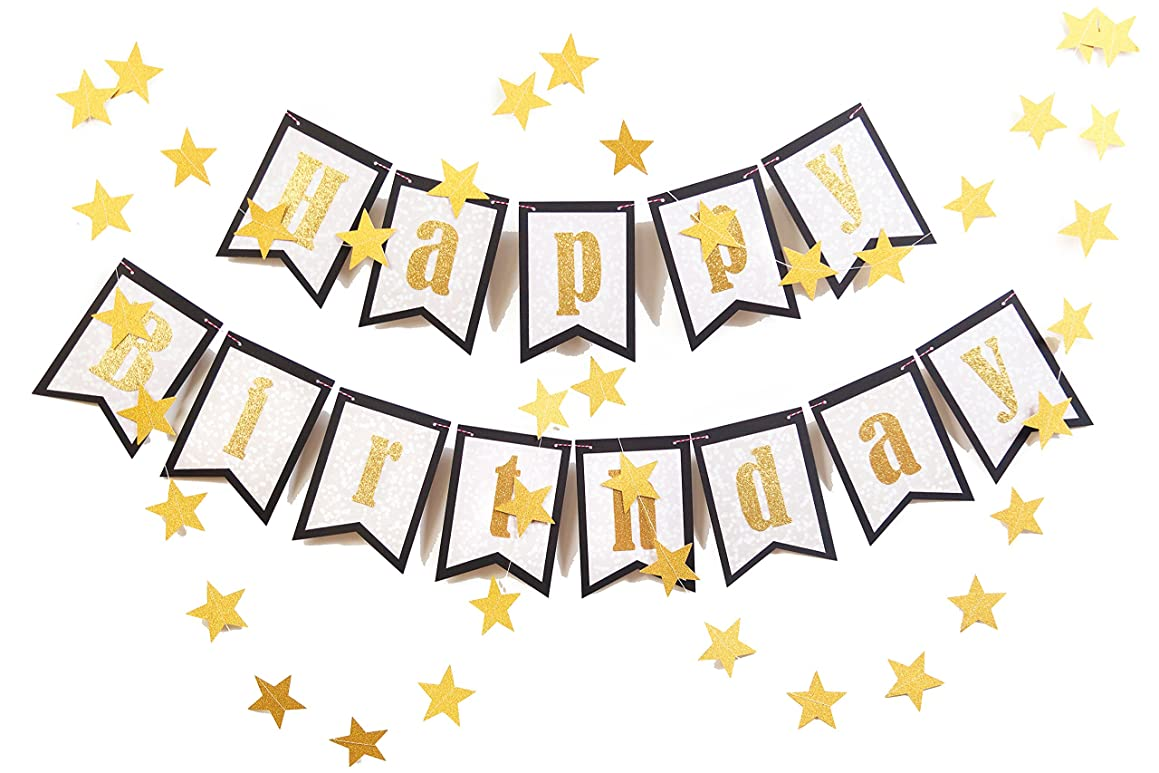 May&June Original Happy Birthday Banner, Three Layers Design, Black, Gold Glitter Letters, with 13ft Star Garland, for 1st First 50th 60th Birthday Party, Mermaid Party, Wall Decoration