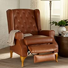 BrylaneHome Queen Anne Style Tufted Wingback Recliner, Camel