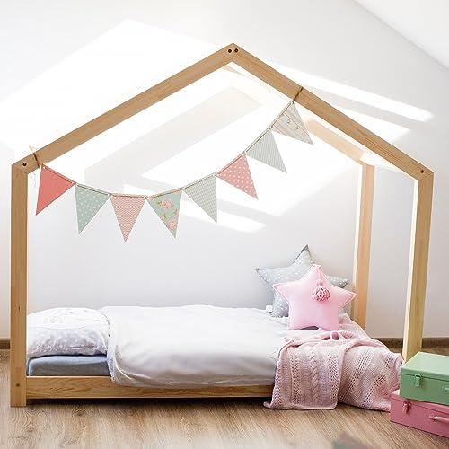 Oliveo Hausebett Kinderhaus Bett für Kinder Kinderbett Massivholz Spielbett Holz Haus (140 x 200 cm)