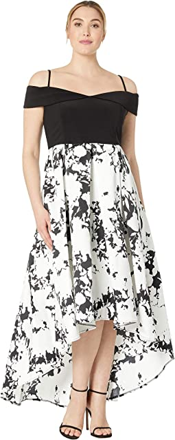 Plus Size Off Shoulder Hi-Low Jersey Bodice Dress with Print Mikado Skirt