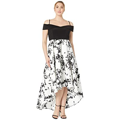MARINA Plus Size Off Shoulder Hi-Low Jersey Bodice Dress with Print Mikado Skirt (Black/White) Women