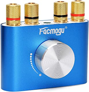 F900 Red/Gold Bluetooth Amplifier with Adapter 5A 12V DC, 50W + 50W Mini Amplifier Wireless Audio 12V DC AMP 100W 2 Channel (Blue (No Adapter))