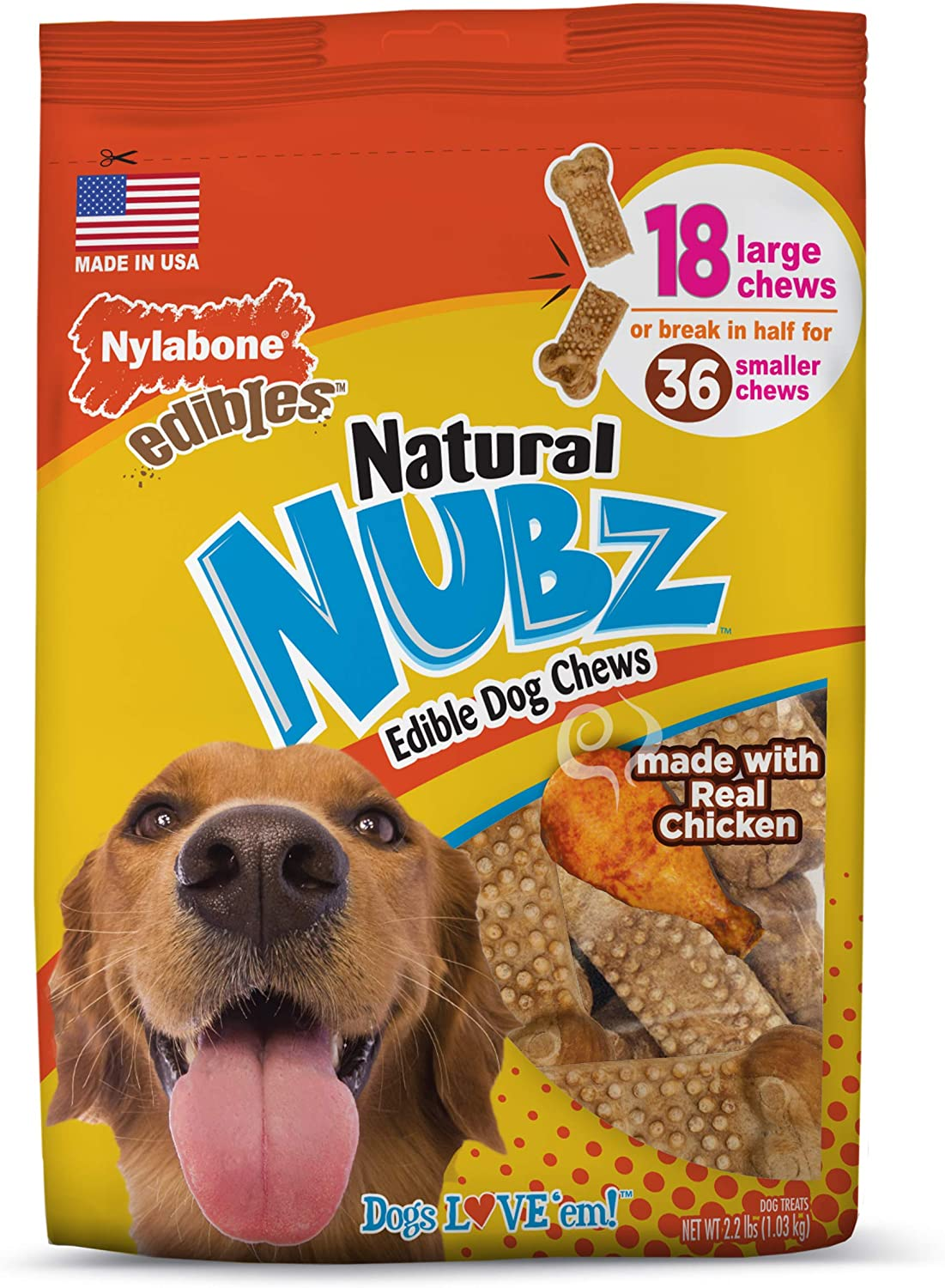 Nylabone Nubz Natural Dog Chews, Treats for Large Dogs, 18 Count